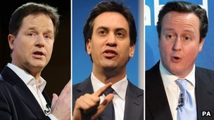 Nick Clegg, Ed Miliband, David Cameron,