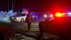 Police roadblock during a manhunt in Quebec. Photo: 17 March 2013