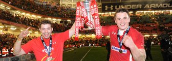 Leigh Halfpenny and Jonathan Davies with the Six Nations trophy