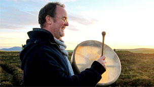David Hendy with a drum