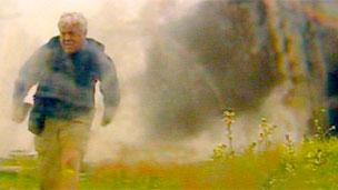 John Simpson runs from the friendly fire attack
