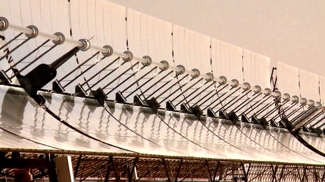 Parabolic mirrors collect sunlight at concentrated solar power plant