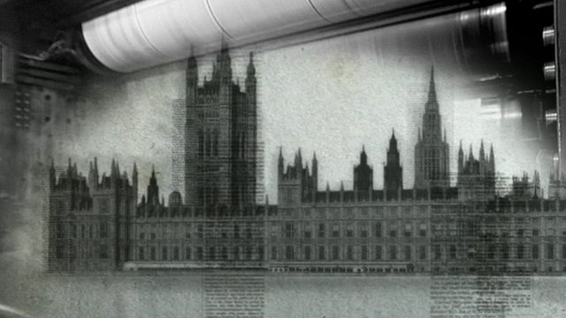 Graphic showing parliament and a printing press