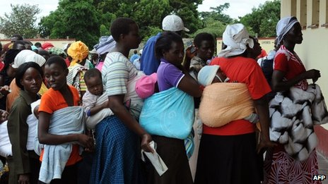 Zimbabweans queuing to vote in a referendum on a new constitution - 16 March 2013