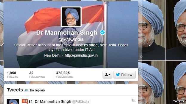Manmohan Singh's Twitter page