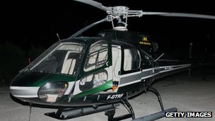Helicopter used by four masked men to assist the escape from prison of Pascal Payet