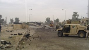 A road in Iraq after a bombing