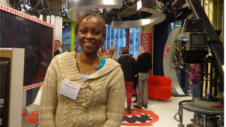 Grace Macharia on set of The One Show