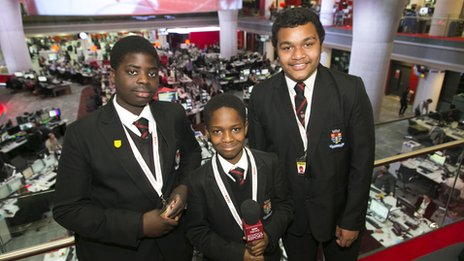 JT, Kwaku and Michael from SE London's Woolwich Polytechnic School for Boys see 'real journalism' at work at the NBH newsroom