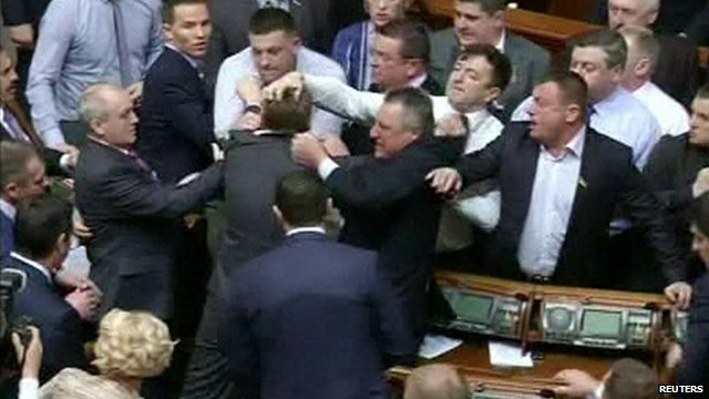 Fighting in Ukraine parliament