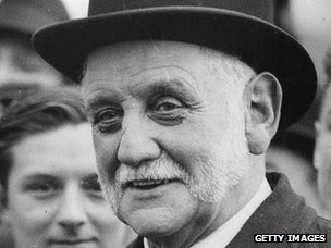 George Lansbury at a football match in Hyde Park, London, in 1931