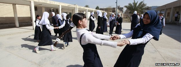 School girls playing in Sadr City, Baghdad
