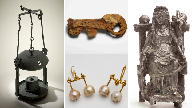 Composite image showing: Bronze lantern from Pompeii, bronze key from Herculaneum, a pair of earrings and a statuette of Egyptian goddess Isis-Fortuna.