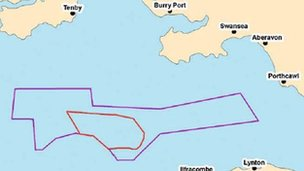 Zone map showing site of proposed off-shore wind farm
