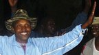 Fugitive Congolese warlord Bosco Ntaganda (L) dances alongside his commanders in Tebero, Masisi, on 18 November 2005