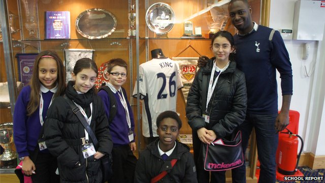 Ledley King and the School Reporters at White Hart Lane