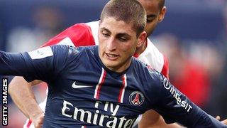 Paris St-Germain midfielder Marco Verratti