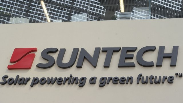 Company sign outside of Chinese company Suntech in the eastern Chinese city of Wuxi