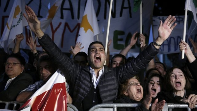 Cypriot demonstrators