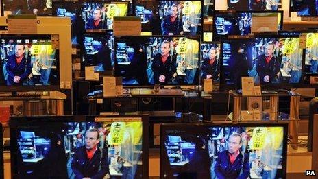 Bank of TVs