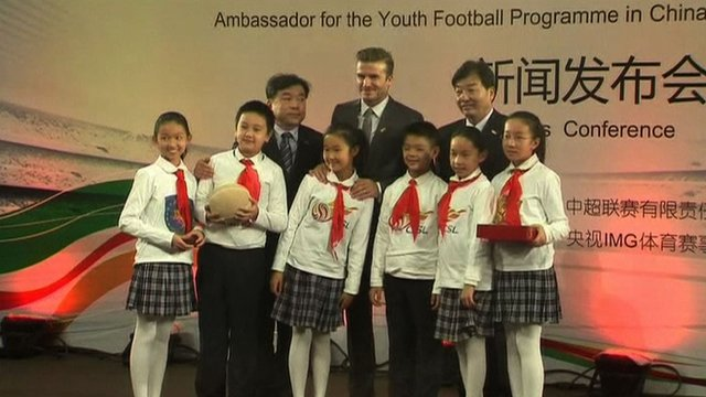 David Beckham with Chinese fans