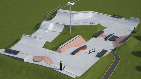 Artist's impression of Daventry skate park