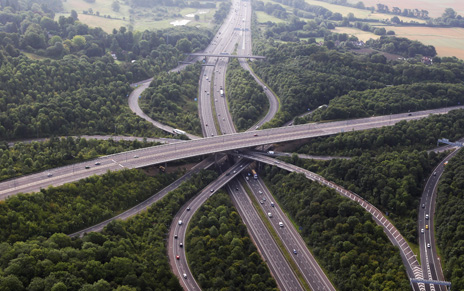 M25 motorway from above