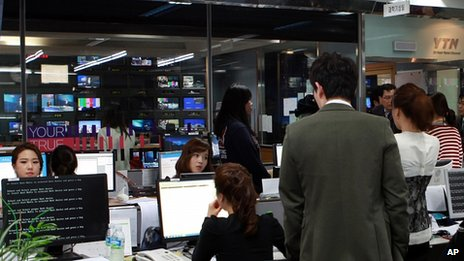 Blank computer screens at YTN broadcaster, Seoul. 20 March 2013