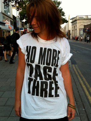 "Lucy Ann Holmes wearing ""no more Page 3"" T shirt"