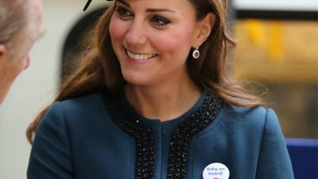 Duchess of Cambridge with her baby on board badge