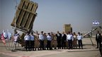 US President Barack Obama in front of part of Israel's Iron Dome defence system at Ben Gurion airport in Tel Aviv, 20 March 2013