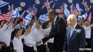 US President Barack Obama (right) and Israeli President Shimon Peres, Jerusalem, 20 March 2013