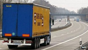 Motorway lorry in Germany - file pic