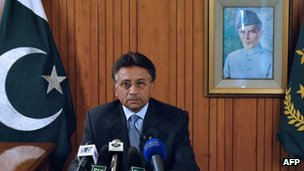 Pervez Musharraf announces his resignation as Pakistani president in August 2008