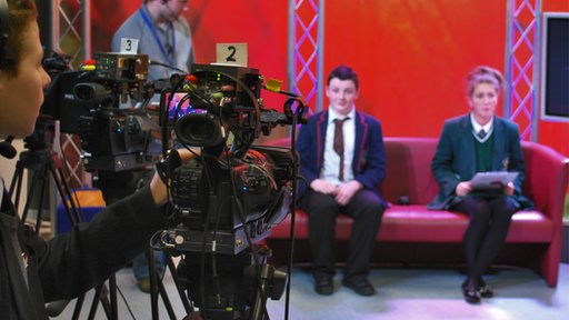 Pupils rehearsing for School Report's news day