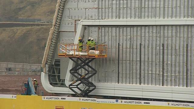 Workmen on construction site