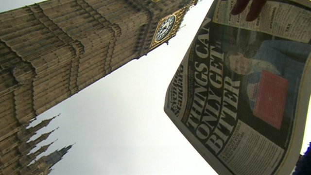 Front page of paper covering Budget with Westminster Clock in background