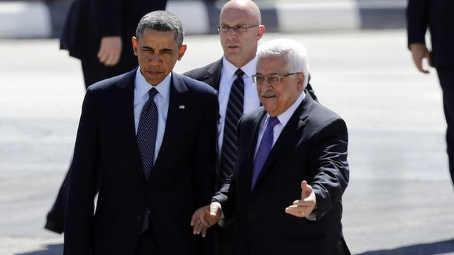 US President Barack Obama (left) with Palestinian Authority President Mahmoud Abbas in Ramallah, 21 March