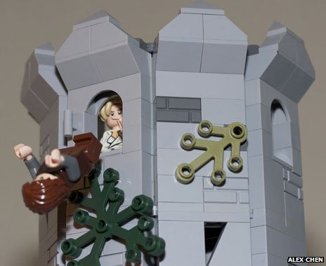 The attempted murder of Bran Stark by Jaime Lannister - in Lego