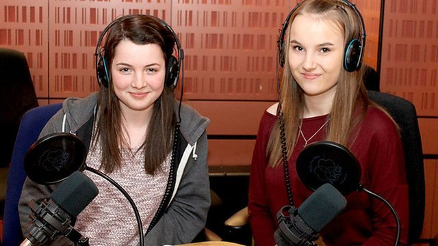 Holly (l) and Lauren (r) from Bartley Green School present Woman's Hour