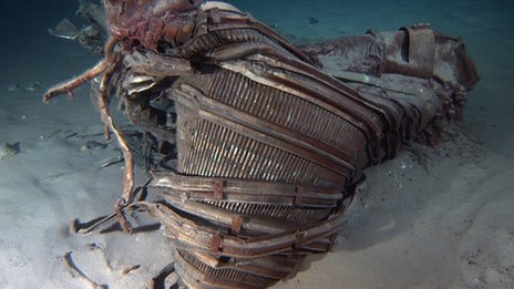 Sunken Apollo rocket engines raised