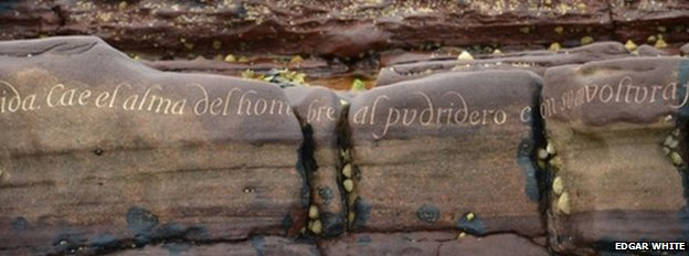 Pablo Neruda poem carved into rock