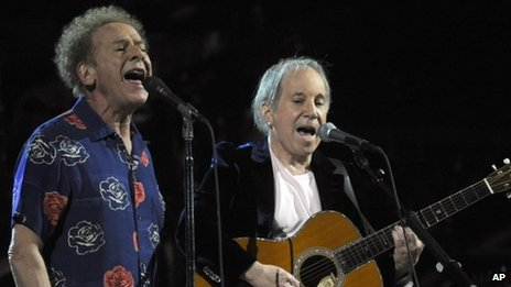 Paul Simon and Art Garfunkel performing in New York in 2009
