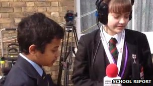 School Reporters outside Canterbury Cathedral