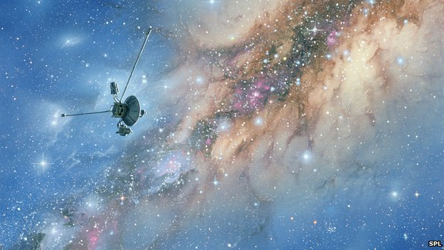 An artist's impression of Voyager-1 as it passes across the Milky Way