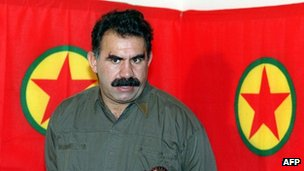 A file photo taken on September 28, 1993 shows Kurdish rebel chief Abdullah Ocalan giving a press conference in Masnaa on the Lebanon-Syria border