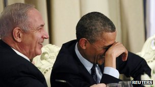 U.S. President Barack Obama shares a laugh with Israel&quot;s Prime Minister Benjamin Netanyahu