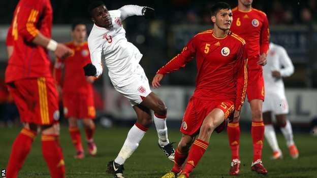 Wilfried Zaha scores against Romania