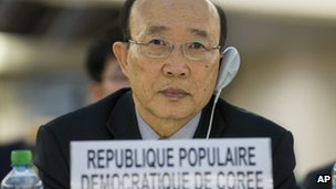 "So Se-pyong, North Korea""s ambassador to the U.N. in Geneva listens to the report of U.N. Special Rapporteur on North Korea, during the 22nd session of the Human Rights Council, at the European headquarters of the United Nations in Geneva, Switzerland, Monday, March 11, 2013."