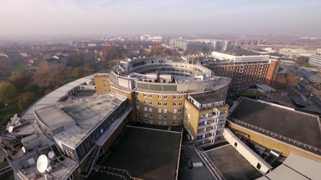 Aerial view of BBC Television Centre